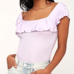 Free People Last Call Lilac Ribbed Flounce Top